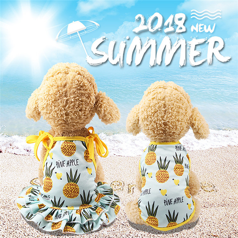 Pet Dogs Dress Breathable Polyester Fruit Print Pet Couples Dress Puppy Dog Princess Lovely Strawberry Pineapple Dress (7)