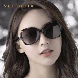 Image 2 - VEITHDIA Retro bayan güneş gözlüğü polarize lüks kristal bayanlar marka tasarımcısı güneş gözlüğü gözlük kadınlar için kadın V3027