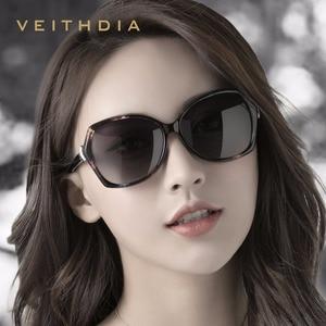 Image 2 - VEITHDIA רטרו נשים משקפיים שמש מקוטב יוקרה קריסטל גבירותיי מותג מעצב משקפי שמש Eyewear לנשים נשי V3027