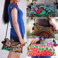 National trend embroidered bag double faced embroidery fabric small cross-body Handbag Messenger shoulder bags