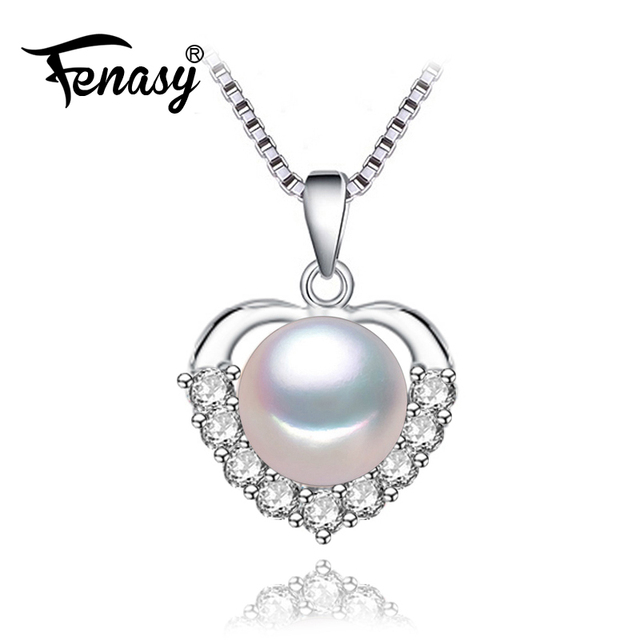 Fenasy love heart pendantpearl jewelry chain necklace women fenasy love heart pendantpearl jewelry chain necklace womenbohemian pearl necklaces pendants aloadofball Gallery