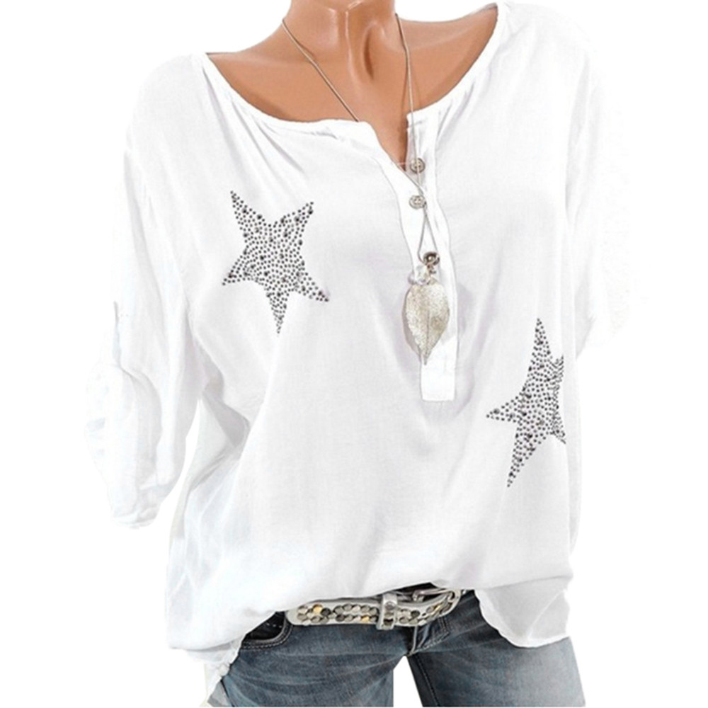 Women's Clothing Women Casual Blouse Summer Spring Fashion Shirts Deep V Neck With Button Five-pointed Star Hot Drill Plus Size Top Blouse Blusas Bright In Colour