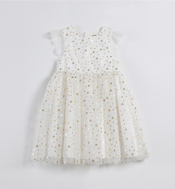 2018 Summer Mesh Star Dresses For Girls Princess Children Cute Dress 5 pcs lot Wholesale