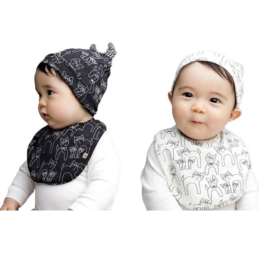 2018 hot sale Cute Kids Baby Cotton Saliva Lunch Bib Cotton Scarf and Cat Pattern Hat Cap Set Feeding Smock Bibs Burp Cloths #20