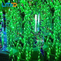 120LEDS 4m 0 6m Artificial Salix Leaf Vine Curtain For Home Garden Supermarket Luminaries Decoration Christmas
