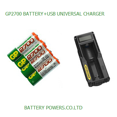 New 0riginal 4pcs/Lot GP 1.2V NiMh AA 2700 mAh Battery with Charger Rechargeable AA Batteries pilas recargables free shipping