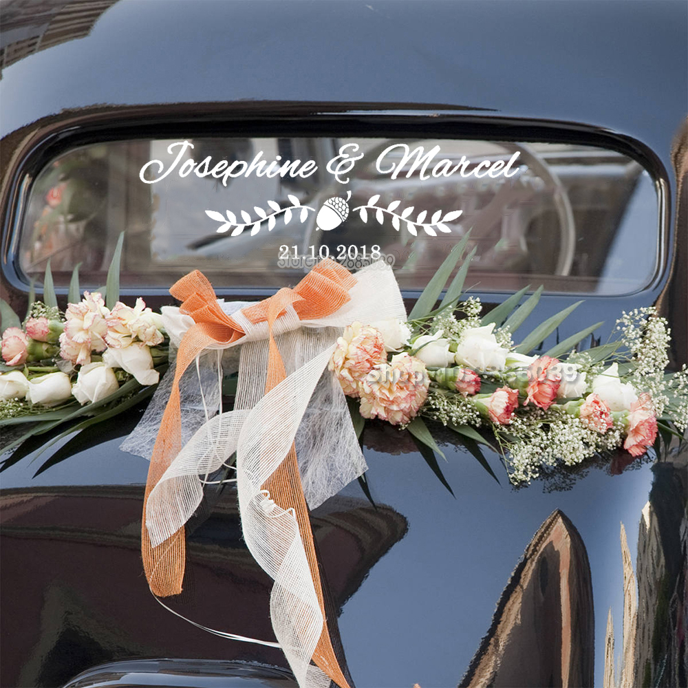 Wedding Car Decorations Customised Name Date Car Sticker ...