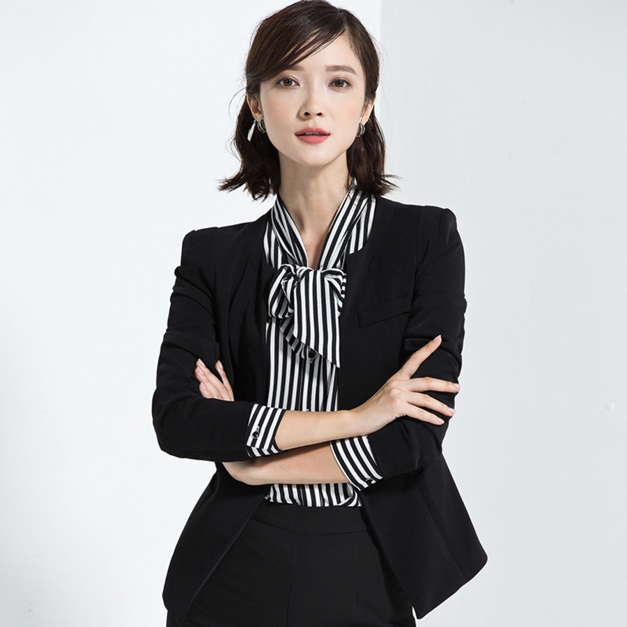 Casual Short Black Blazer Women Plus Size Blazers And Jackets Elegant Feminino Manga Lon ...