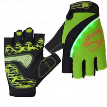 Cheap price outdoor sports short finger led light bike cycling gloves