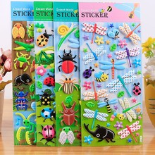 4 Sheets Cartoon Insect 3D Stickers Pack Animal pegatinas Kids Toys For Laptop Motorcycle Skateboard Stickers Book Adesivos 3 sheets different 3d stickers cute cartoon toys fun toys for kids on the page of stickers stickers laptop phone gifts animals