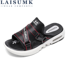 LAISUMK Men Summer Slippers Sandals Beach Comfortable Fashion Flip Flops Shoes