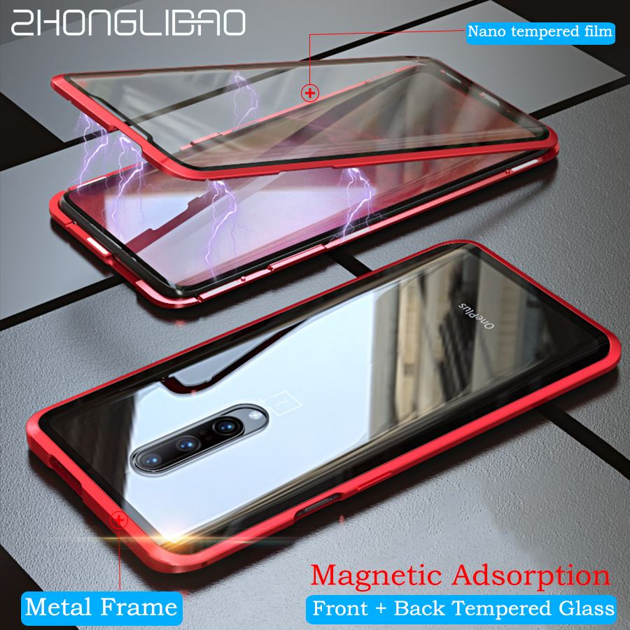 Luxury Magnetic Metal <font><b>Case</b></font> for <font><b>Oneplus</b></font> 7 7 Pro 6t <font><b>6</b></font> 360 Full Cover Front Back Double Glass Screen Protector One Plus 7 7pro <font><b>6</b></font> T image