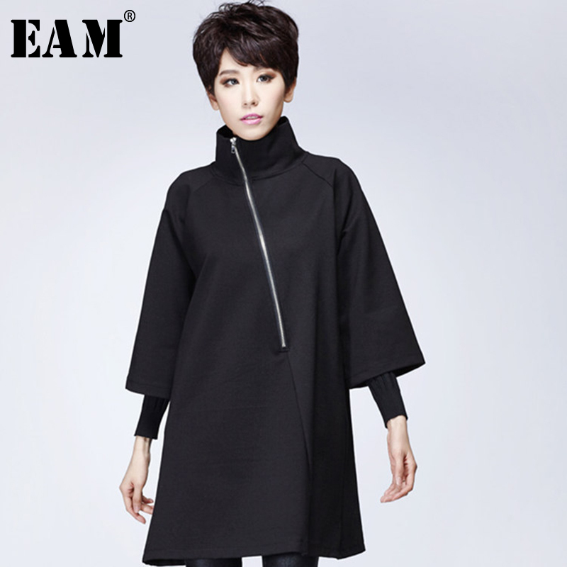 [EAM] 2020 New Spring High Collar Long Sleeve Balck Oblique Zipper Split Joint Loose Brief Dress Women Fashion Tide JK144