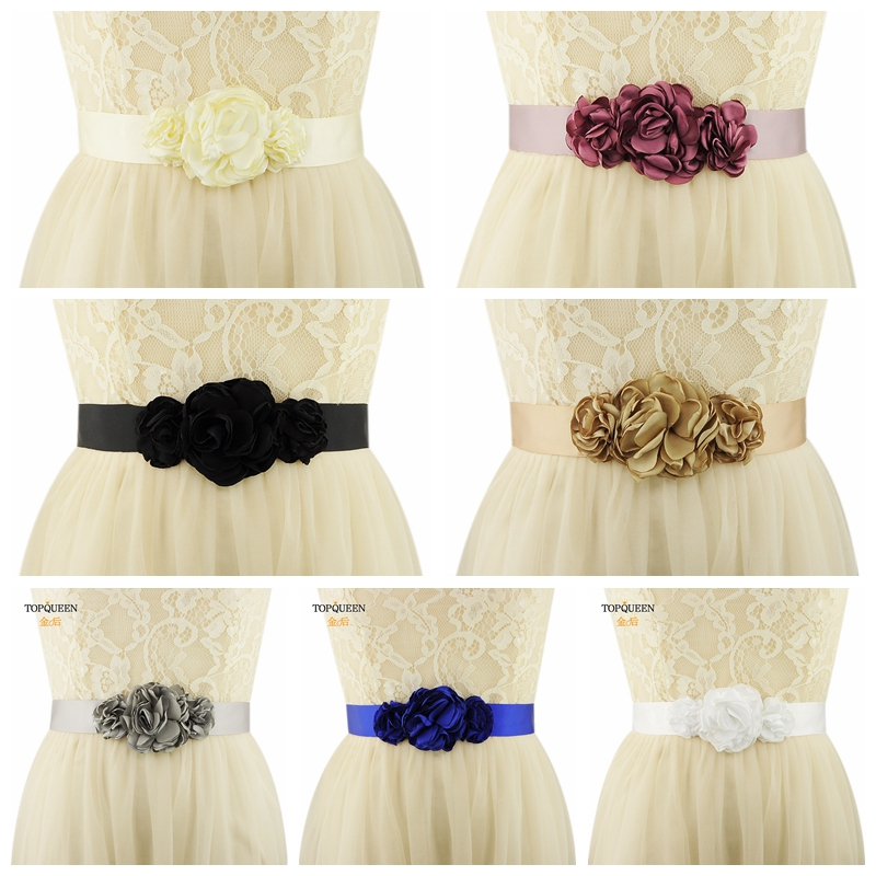 TOPQUEEN S226 Women's Fashion Satin Flowers Belt Ivory Bridesmaid Sash Belt  For The Evening Party Wedding Hollow Flowers