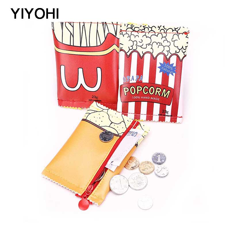 YIYOHI Korean Girls Cartoon Fries Mini Coin Purse Children Kawaii Zipper Coin Wallet PU Coin Pouch Women Snacks Small Money Bag