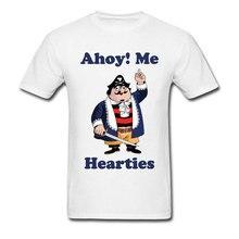 Funny Cartoon Tshirt Pirate Pugwash Ahoy Me Hearties Print Casual Tops Tees Camisa Ostern Day White Anime T Shirts