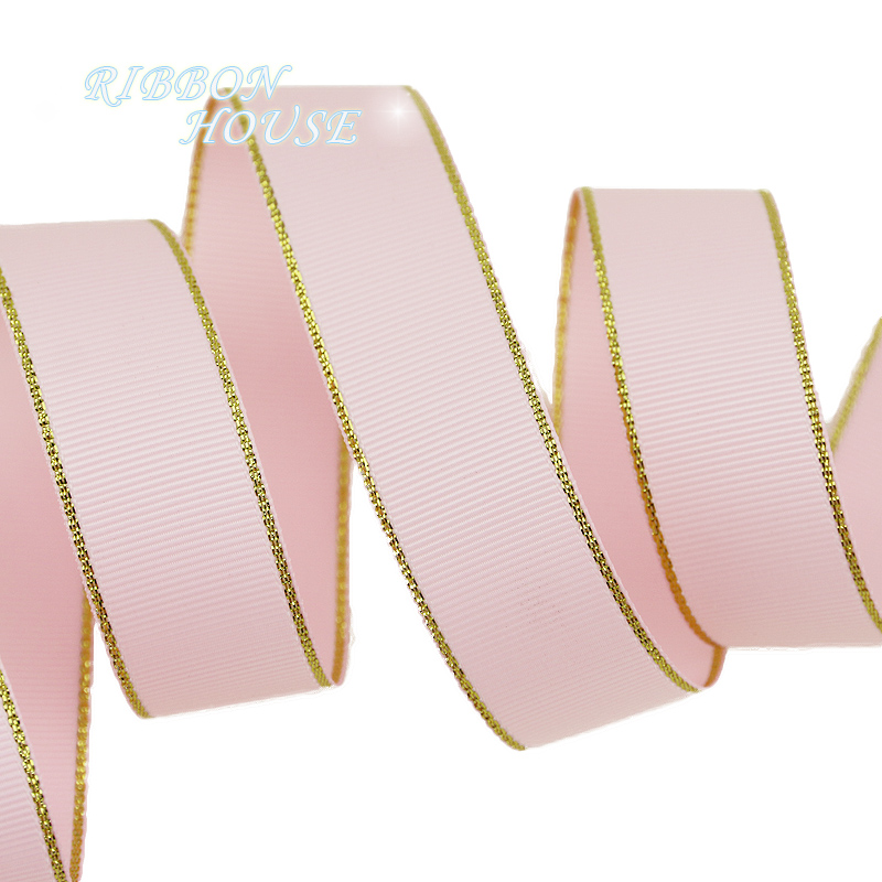 (10 ярдов/партия) золотой край розовый корсажная лента оптовая продажа подарочная упаковка рождественские ленты