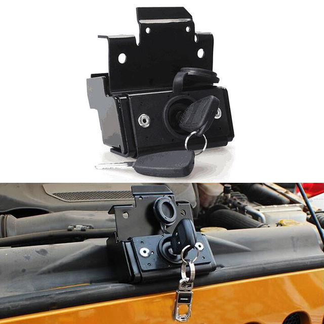 BBQ@FUKA Auto Car Locking Hood Cover Lock Kit AntiTheft Security Cover Locker Fit For Jeep Wrangler JK 07-2015 Car accessory