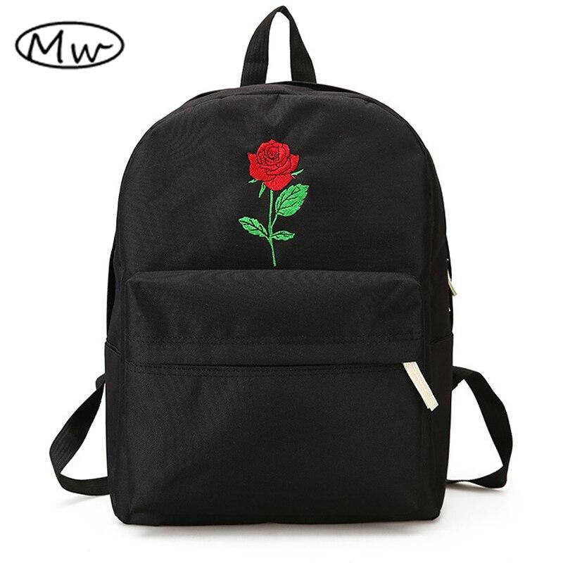 Mond Holz Neueste Stickerei Rose Lloral Rucksack Männer frauen Reisetaschen Mochilas Rucksack Schule Taschen Für Teenager Mädchen Jungen