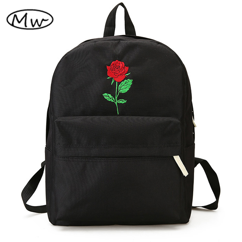 Moon Wood Newest Embroidery Rose Lloral Backpack Men Women's Travel Bags Mochilas Rucksack School Bags For Teenager Girls Boys #1