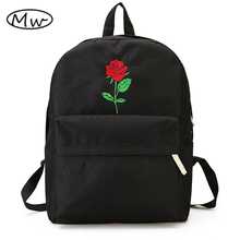 Moon Wood Newest Embroidery Rose Lloral Backpack Men Women s Travel Bags Mochilas Rucksack School Bags