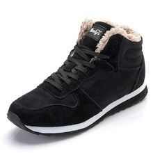 Winter Laarzen Mannen Winter Schoenen Warme Bont Lance Up Schoenen Mannen Winter Sneakers Casual Enkellaarsjes Botas Hombre Zwart blauw(China)