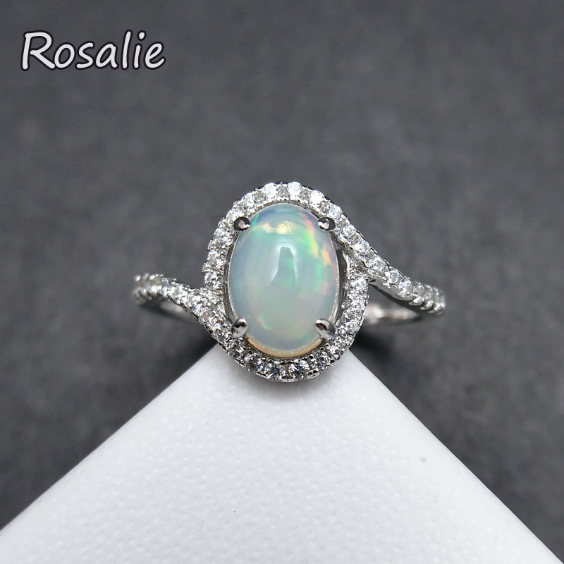 Rosalie,Top Quality Ethiopian Natural Opals oval 6*8mm gemstone Ring 925 sterling silver fine jewelry for girls gift with box rosalie natural 0 5ct yellow sapphire gemstone ring elegant design 925 sterling silver fine jewelry for girls fine jewelry
