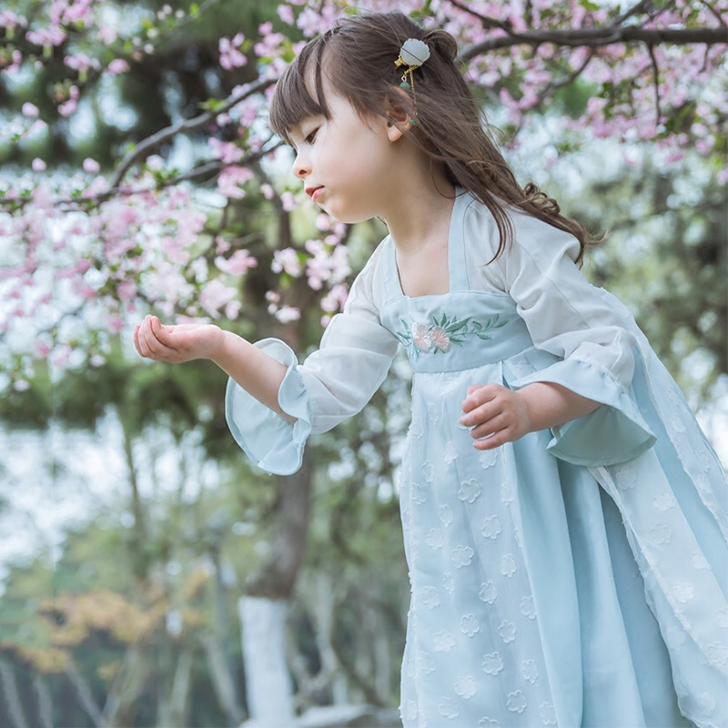 Girls Dance Costume Lovely Hanfu Folk Dress Blue Performance Clothing Festival Outfit Oriental Stage Dance Wear For Kids DC2359