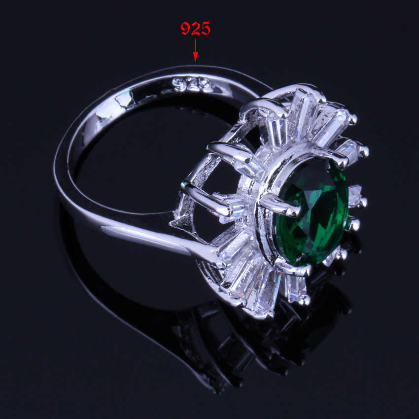 สีเขียว Cubic Zirconia สีขาว CZ 925 เงินสเตอร์ลิงชุดเครื่องประดับสำหรับต่างหูแหวนจี้แหวน V0244