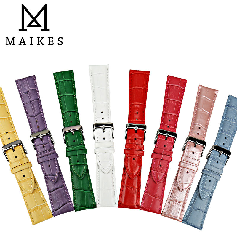MAIKES New design genuine leather watch band fashion watch strap watch bracelet purple watchbands for dw daniel wellington in Watchbands from Watches