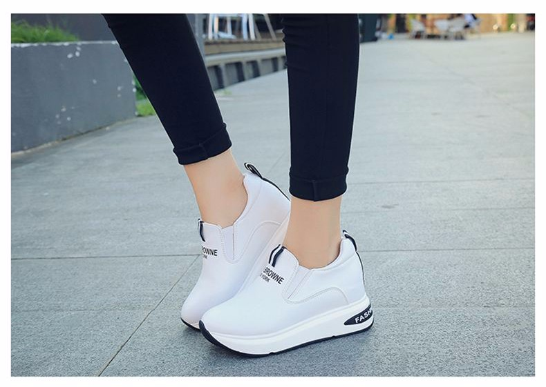 Shoes Women High Top Autumn Quality Leather Wedges Casual Shoes Height Increasing Slip On Ladies Shoes Trainers Size 35-39 YD139 (17)