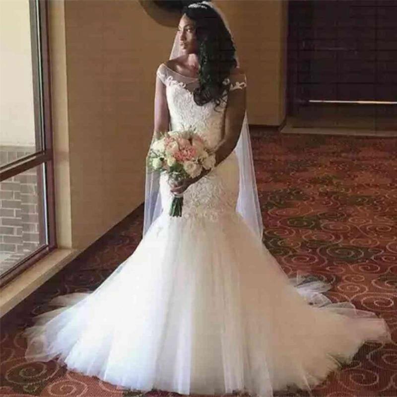 Fansmile 2020 New African Mermaid Lace Wedding Dresses Off The Shoulder Wedding Gowns Vestido De Noiva FSM-546M