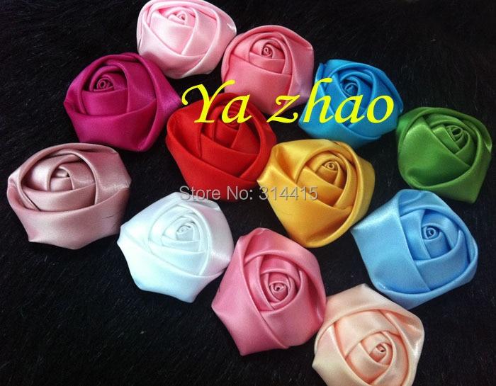""""""" атласная скрученная Розочка цветок для повязки на голову, одежда 20 цветов, 80 шт./партия"""