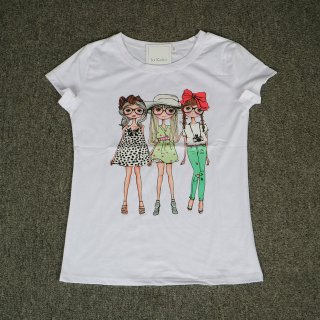 Jojo 2017 Brand New Summer Fashion clothes for women three wear glasses girls print harajuku kawaii t shirt women's T-Shirts