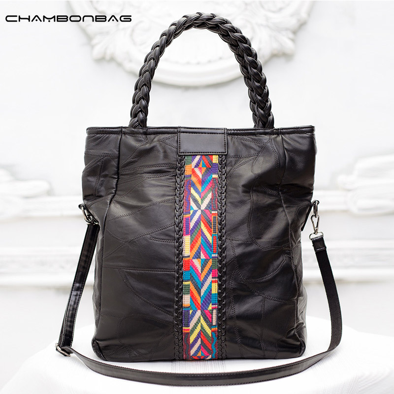 Fashion Large Black Soft  Women Handbag 100% Genuine Leather Ladies Shoulder Strap Big Bag with Rainbow belt  N485 db3943 dave bella autumn baby girl pink dress infant clothes girls lace dress baby lantern sleeve birthday dress