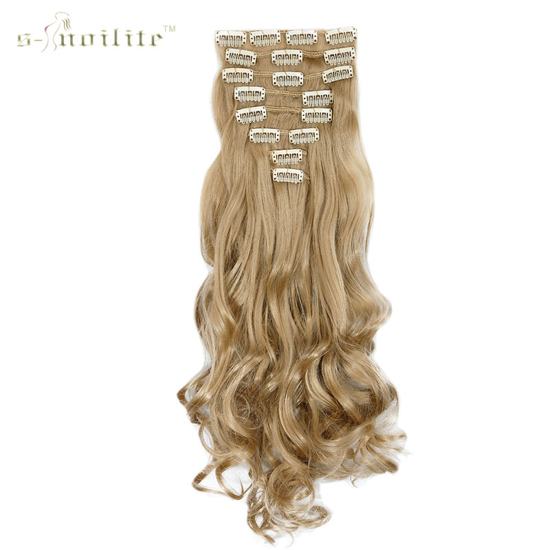 SNOILITE 24inch 170g Long Curly 18 Clips in False Hair Styling Synthetic Hair Extensions Hairpiece 8pcs/set Soft Natrual Black