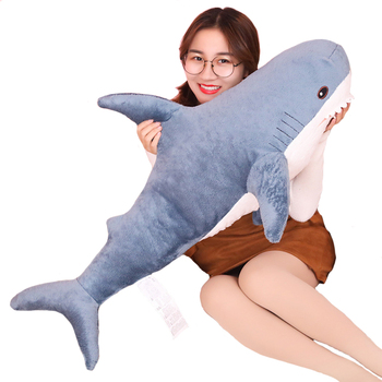 80/100/138cm Big Size Funny Soft Bite Shark Plush Toy Pillow Appease Cushion Gift for Children NTDIZ1008