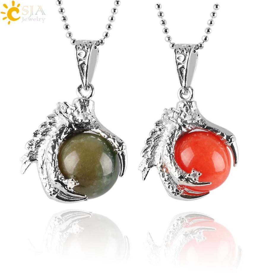 CSJA Natural Gem Stone Beads Dragon Claw Necklaces & Pendant Ball Lapis Lazuli Crystal Quartz Women Men Yoga Gothic Jewelry E456