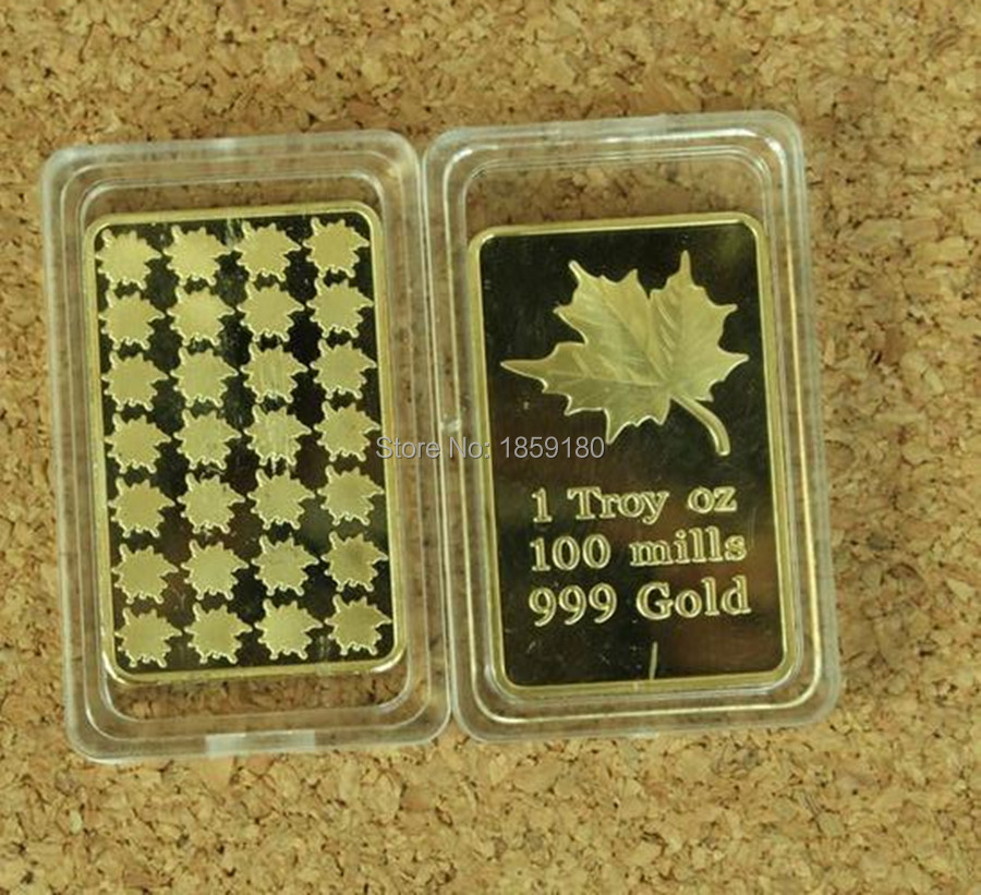 24k Gold Clad Bullion Bar Coin Canadian Maple Leaf