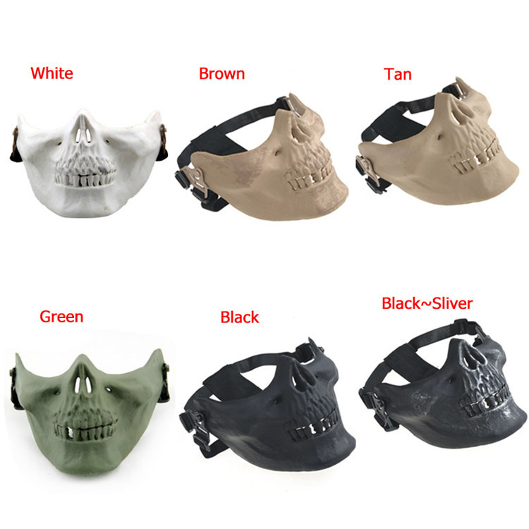 Adults M03 Halloween Airsoft Mask Skull Skeleton Paintball Masquerade Costume Half Face Mask Skull Scary Masks