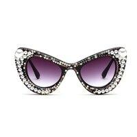 Haute qualité Strass Perle Cat Eye lunettes de Soleil Femmes vintage marque designer Surdimensionné lunettes de Soleil dames partie UV400