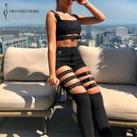 Punk Pants Women Black High Waist Pants Elastic Hollow Out Adjustable Buckle Pencil Pants Streetwear Trousers Nightclub Clubwear