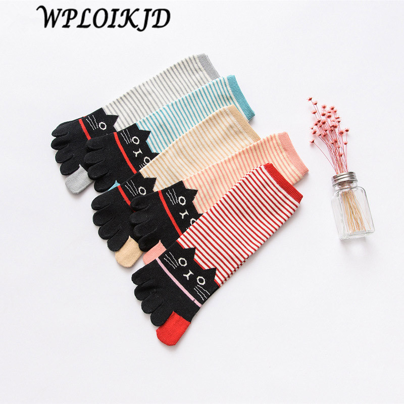 [ WPLOIKJD]Japan Harajuku Meias Cotton Striped Pattern Five Fingers Socks Women Colorful Short Cute Funny Calcetines Mujer