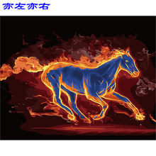 flame horse animal fire Scenery DIY Digital Painting By Numbers Modern Wall Art Canvas Painting Unique Gift Home Decor 40x50cm(China)
