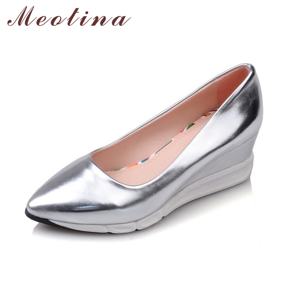 Meotina Shoes Women Platform Wedges Fashion High Heel Shoes Basic Wedge Heels Pointed Toe Lady Shoes Sliver Pink Gold Size 34-39 nayiduyun women genuine leather wedge high heel pumps platform creepers round toe slip on casual shoes boots wedge sneakers