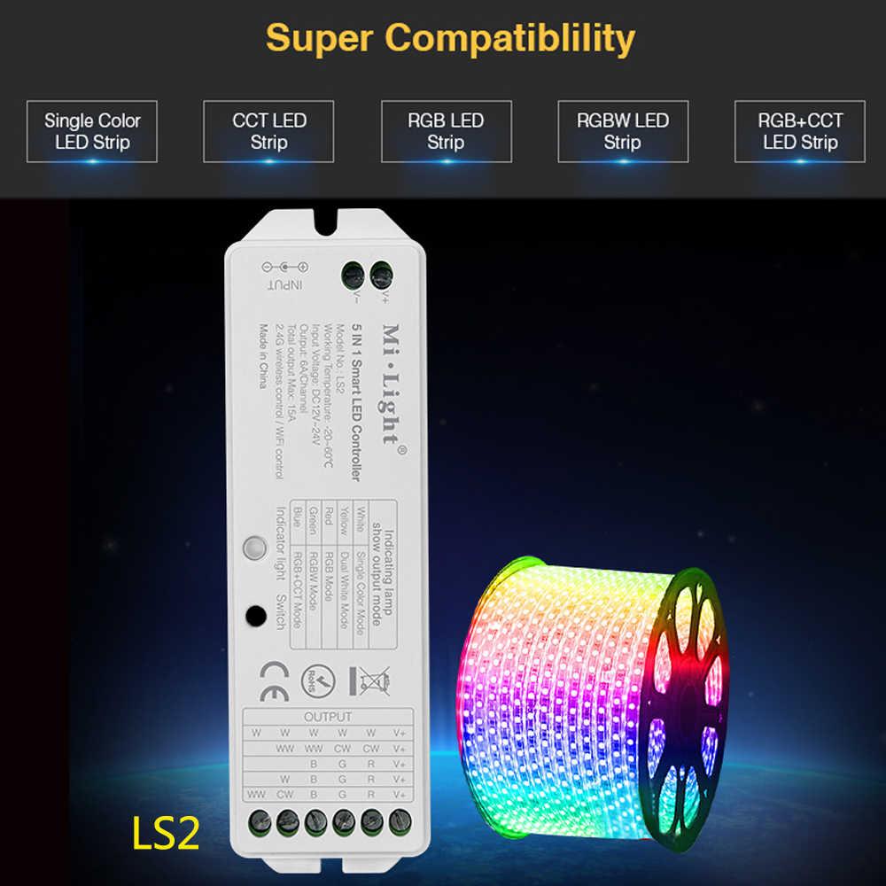 MiLight LS2 5 en 1 led de contrôle intelligent pour couleur unique rvb RGBW rvb + CCT led bande compatible FUT089/B8 écran tactile à distance