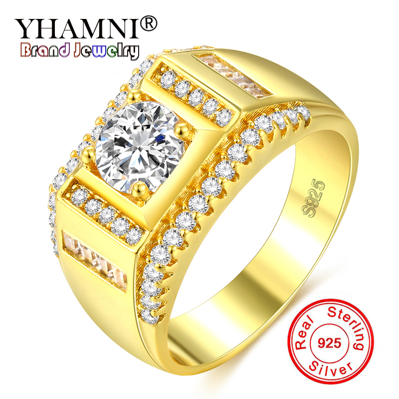 YHAMNI New Fashion Men 925 Silver Ring Gold Color Zircon CZ Engagement Ring Men Fine Jewelry Size 7 8 9 10 11 12 RA0117
