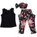 2017 Summer Fashion European style Children 3PC Set Girls Floral T-Shirt+Pants+Hairband Suit Kids Casual Clothing YY0277