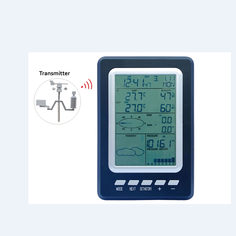 Solar Wireless Weather Station In Outdoor Thermometer Hygrometer Barometric Pressure WindSpeed Chill Weather Forecast Alarm