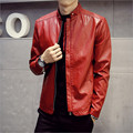 2017 autumn and winter new men's leather jacket stand collar fashion personality solid color quality PU leather Men must coat